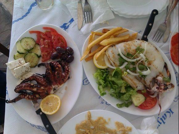 Telendos island, fresh fish in the Taverna Rita in the small harbour of the island