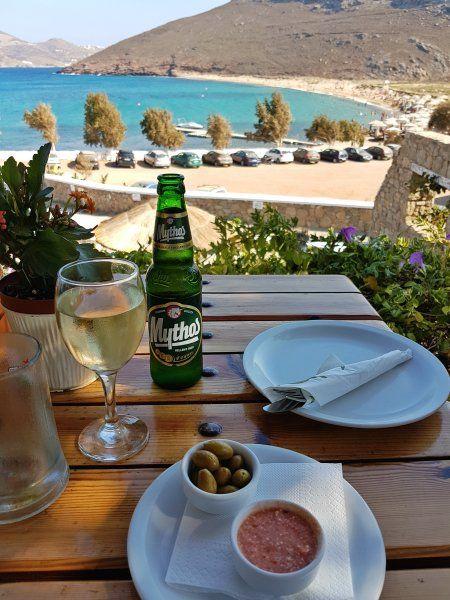 Mykonos august 2017, view from Kalosta restaurant in Panormos beach