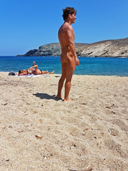 Mykonos august 2017, Fokos is located on the northern side of Mykonos island. A part of Fokos has turned into a naturist beach.