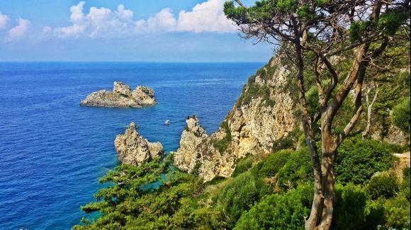 Corfu island, a view from the Paleokastritsa monastery