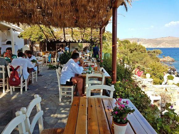 Mykonos august 2017, Kalosta restaurant in Panormos beach.