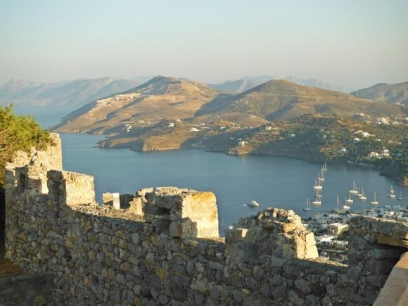 Leros island, view of Pandeli bay from the medieval Castle