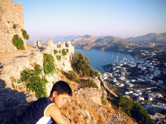 Leros july 2015, view of Panteli from the Medieval Castle