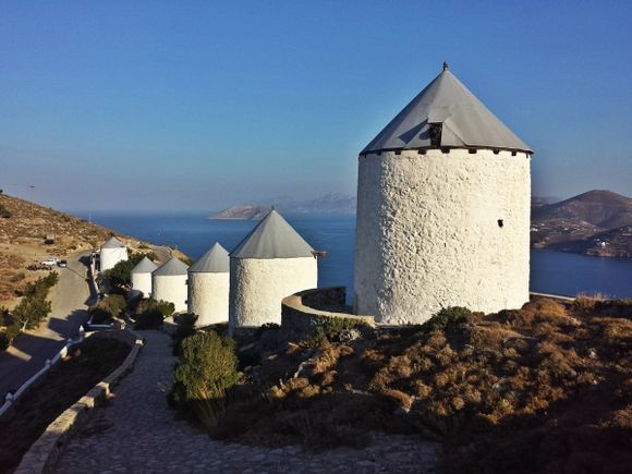 Leros island,the famous 6 windmills, situated over Pandeli