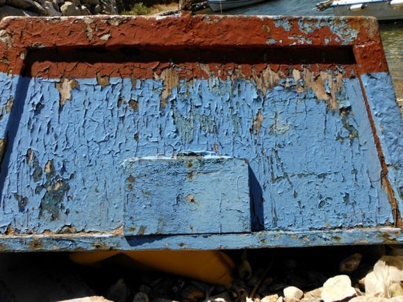 Kalymnos island, a old boat in Emborios beach