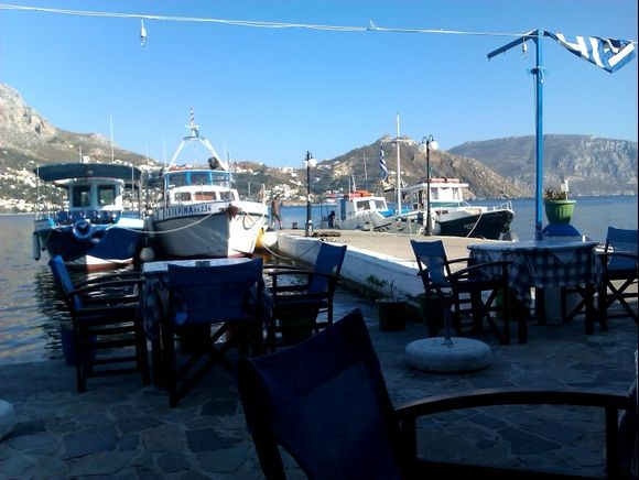 Telendos island, the small harbour of the island from the taverna Rita