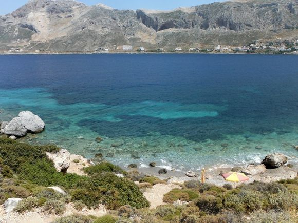 The coast of Telendos island in front of Kalymnos