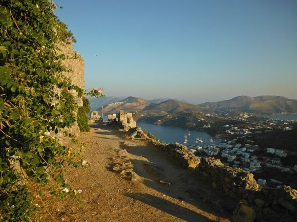 Leros island, view of Pandeli from the Medieval Castle