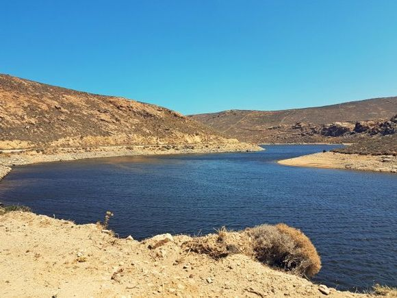 Mykonos august 2017, close to Fokos beach in Ano Mera is located an artificial lake of Marathi, which provides the island with fresh water.