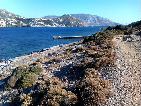 Telendos island, the beautiful coast, in the background the island of Kalymnos