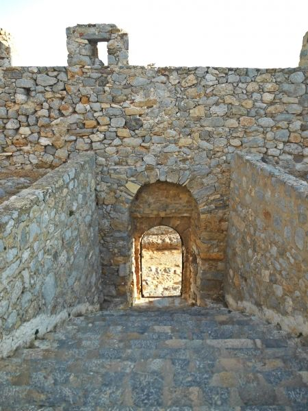 Leros island, the entrance of the medieval Castle in Pandeli