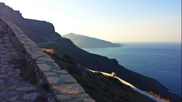 Leros island, the Windmills road leading to the Medieval Castle in Pandeli