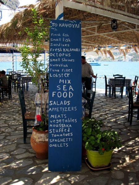 Kalymnos island, a Tavern in the port of Telendos