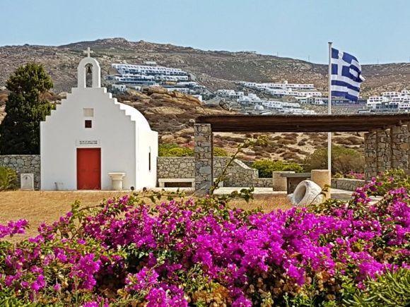 Mykonos august 2017, private church in Agrari beach