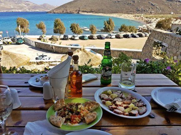 Mykonos august 2017, view of Panormos beach from Kalosta restaurant