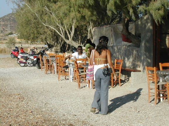 Patmos, the Tavern in Psili Ammos beach, a paradise of quiet, relax and beauty