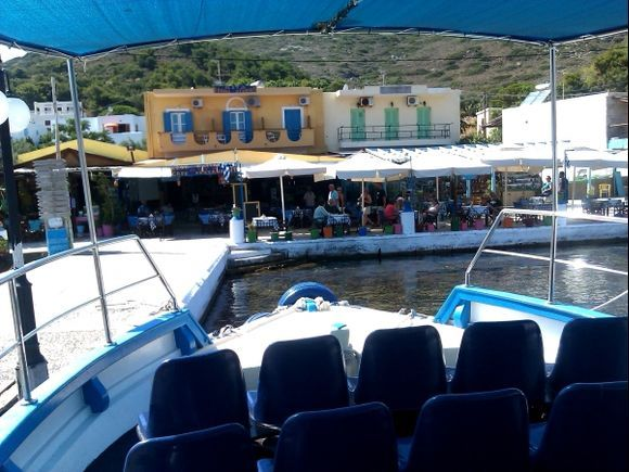 Telendos island, view from the boat of the small port of the island