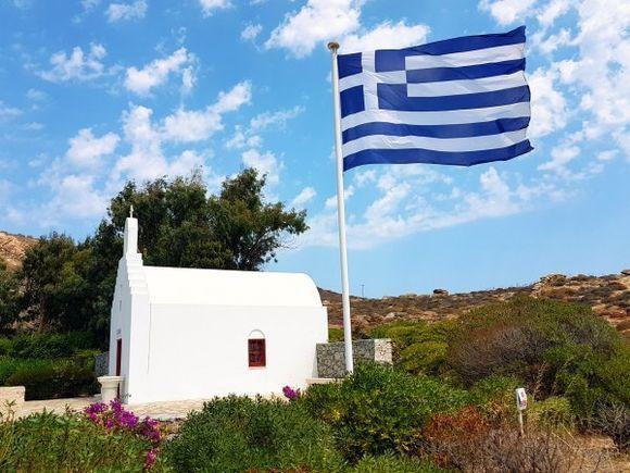 Mykonos august 2017, the private little church in Agrari beach