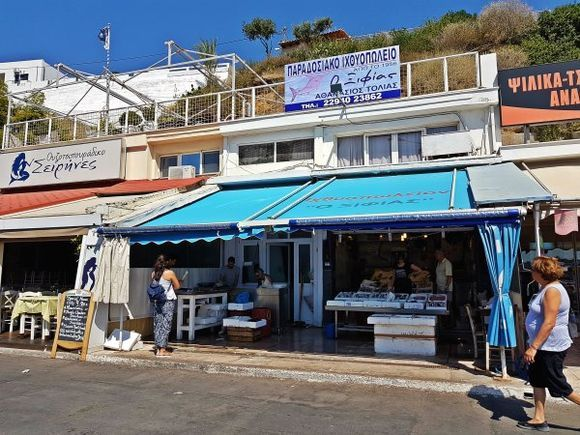 Rafina august 2017, restaurants and fresh fish stores in front of the port.