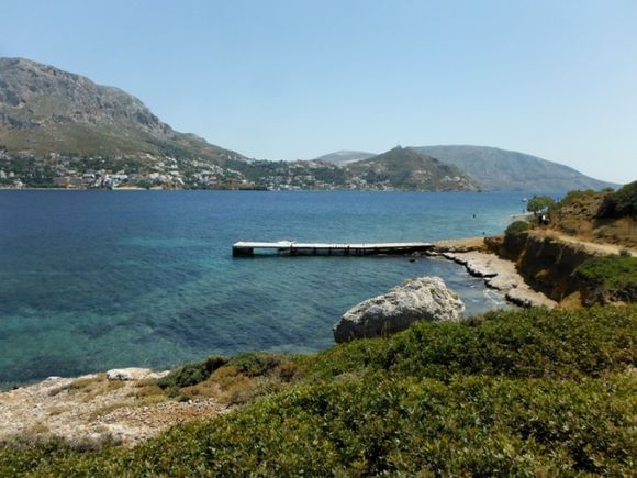 Telendos island, the beautiful coast, in front of the island of Kalymnos