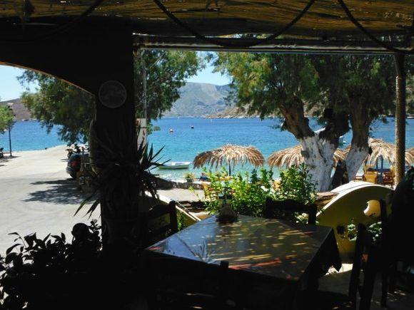 Kalymnos july 2012, view of Emborio beach from Captain Kostas restaurant