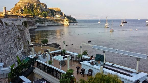 Corfu island, the Old Fortress from the Drops seaside coffee bar