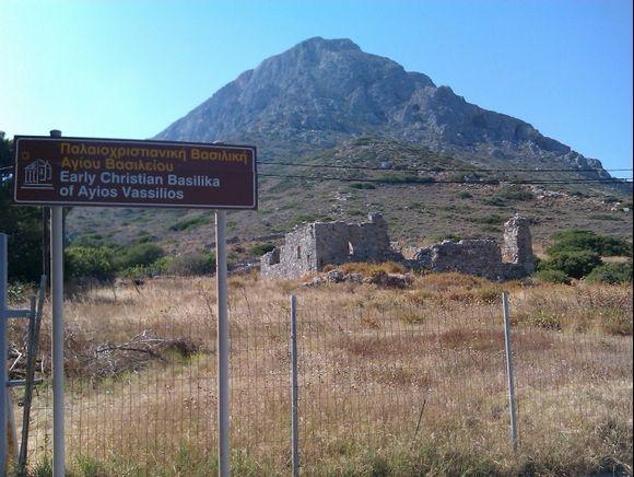 Telendos island, the early Christian Basilika of Ayos Vassilios in the main road od the small island