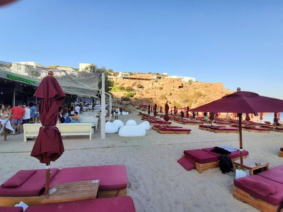 Mykonos July 2021, in the quiet and comfortable Super Paradise beach, here you can take the sun naked!