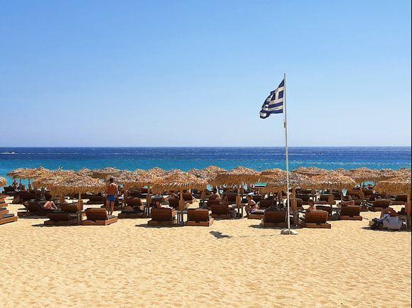 Mykonos July 2021, View from Elia Beach Restaurant