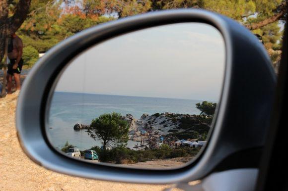 Beach in the mirror