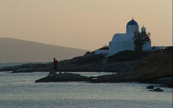 Amateur fishermen and Sunset over Katapola