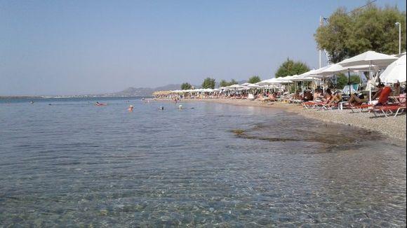 beach of skala, agistri with view of egina