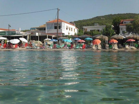 clear waters of skala beach, agistri