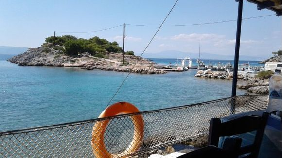 view of aponisos from restaurant on the shore