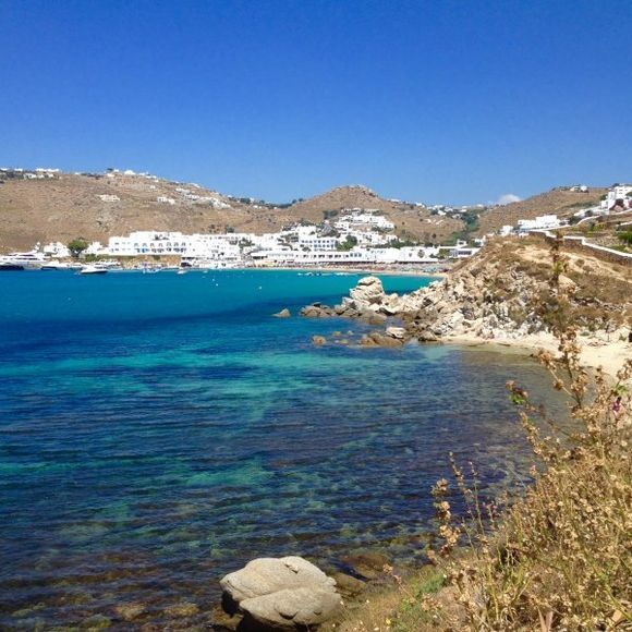Mykonos ,Plates giaios in the distance