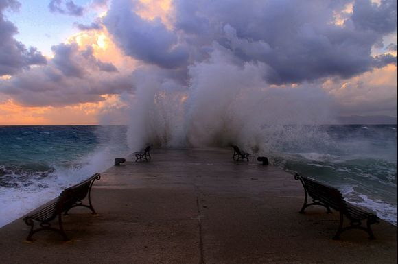 Sunset on a windy day at Rhodes