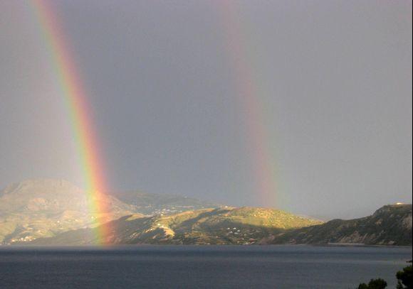 Kimi- Evia-After rain, double rainbow.