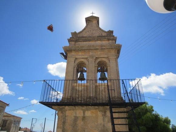 Belltower in Maries. The butterfly came as a bonus.