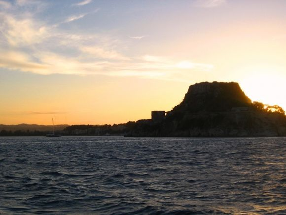 Ship\'s view on the Old Fortress at early sunset.