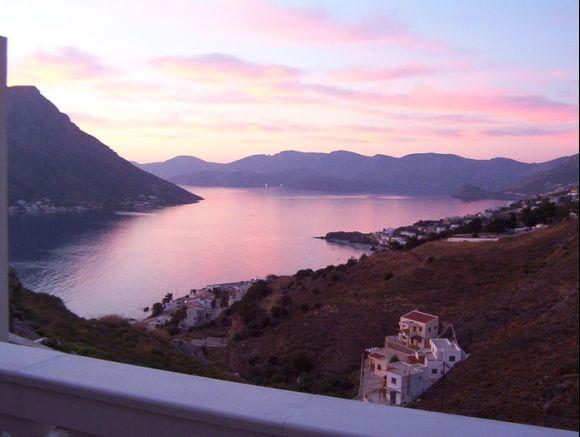 Sunset over Telendos.  Taken from Vigles, Kalymnos