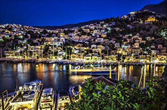 Symi harbour at night