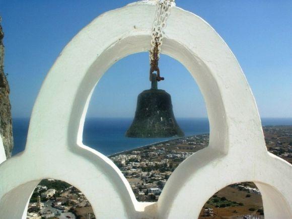 Santorini. Looking down on Perissa.