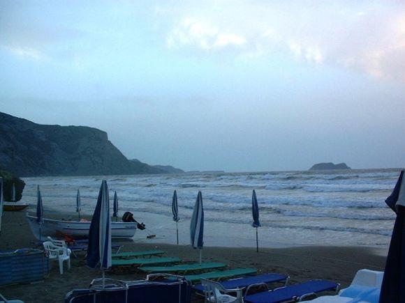 Zante. Rough sea on Kalamaki Beach.