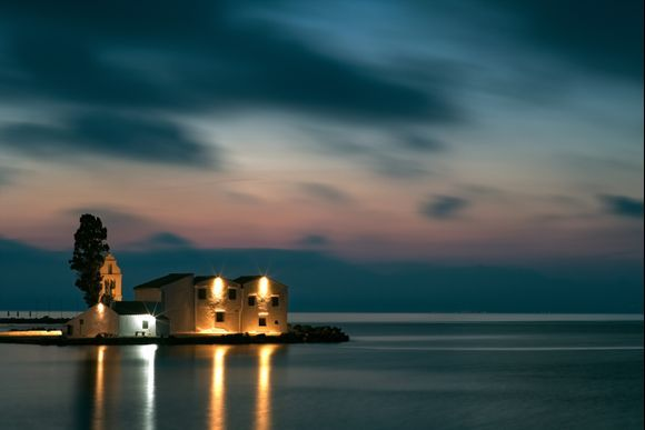 Vlacherna Monastery by Corfu airport ,taken in the blue hour this morning