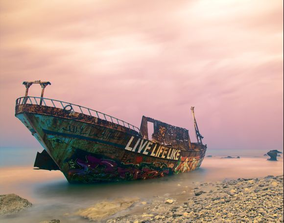 Colourful shipwreck Agios Gordios [ shame about the front having a pealed back piece of metal spoiling its line ]. Have to go back in May for a classic night time shot with milkyway rising.....
