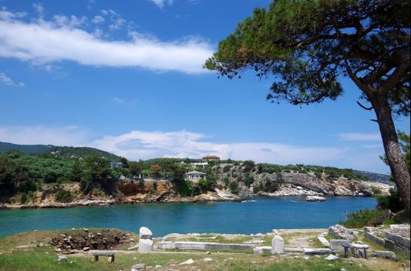 Ancient ruins nearby the sea shores in Aliki, Thassos island.