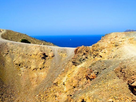 View from Nea Kameni, Santorini's still-active volcano