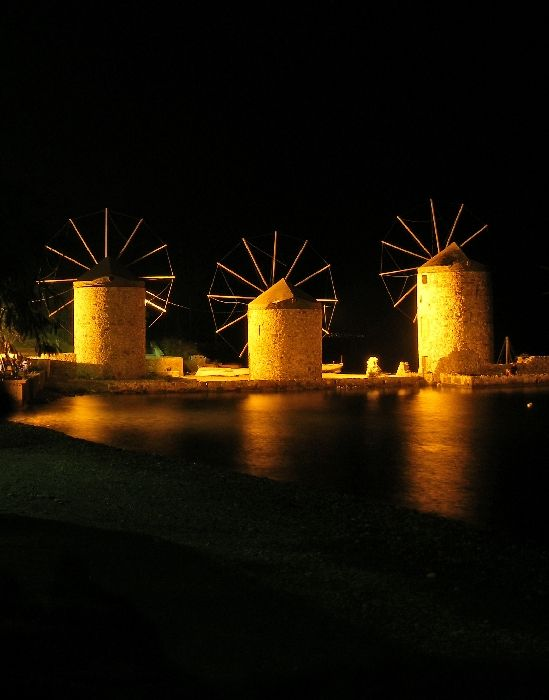 Windmills by night. The old windmills just outside the Chios city.