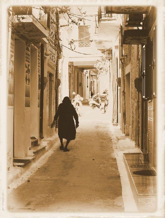 An old widow dressed in black in Pirgi.