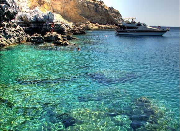 The water is chrystal clear near the caves